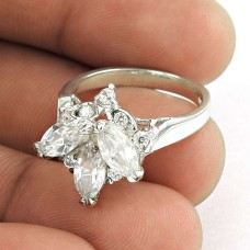 Rare Beauty !! White C.Z 925 Sterling Silver Ring