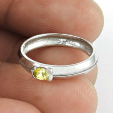Possessing ! Yellow CZ Gemstone 925 Sterling Silver Ring