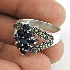 Charming !! Blue Sapphire 925 Sterling Silver Ring