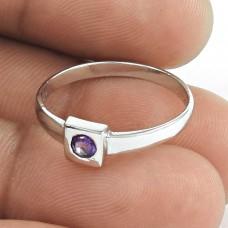 Pretty ! Amethyst Gemstone 925 Sterling Silver Ring