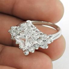 Rattling !! White C.Z 925 Sterling Silver Ring