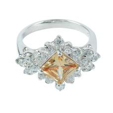 Sightly !! Orange CZ 925 Sterling Silver Ring