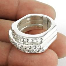 Big Design ! White C.Z Gemstone 925 Sterling Silver Ring