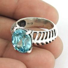 Dream Day ! Blue Topaz Gemstone 925 Sterling Silver Ring Wholesaler