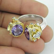 Fashion Design ! CZ & Amethyst Gemstone 925 Sterling Silver Ring