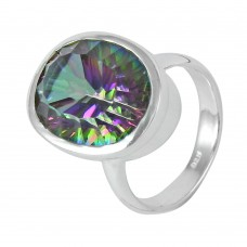 Seductive ! Mystic Topaz Gemstone 925 Sterling Silver Ring