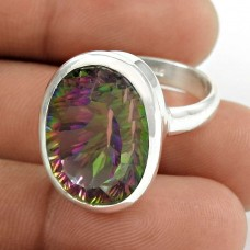 Shapely ! Mystic Topaz Gemstone 925 Sterling Silver Ring Wholesaling