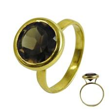 Stylish Design Smoky Quartz Gemstone Sterling Silver Ring Jewellery Fabricante