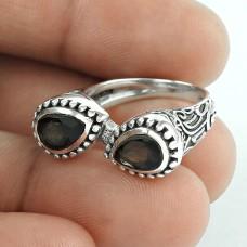 Ornate Smoky Quartz Gemstone Sterling Silver Ring Jewellery Grossiste
