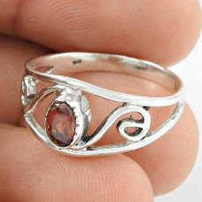 Deluxe ! Garnet Gemstone Silver Ring Jewellery Wholesaler India