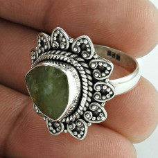 Circle Of Hope !! Prehnite 925 Sterling Silver Ring