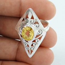 Stylish !! 925 Sterling Silver Citrine Ring