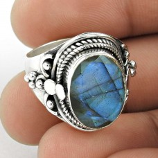 Circle Hope ! 925 Sterling Silver Labradorite Ring