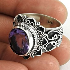 Big Royal Style ! 925 Sterling Silver Amethyst Ring