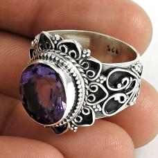 Big Royal Style ! 925 Sterling Silver Amethyst Ring