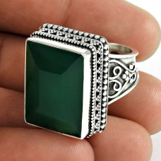 Big Inspire ! 925 Sterling Silver Green Onyx Ring