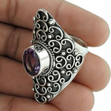Beautiful Design ! 925 Sterling Silver Amethyst Ring