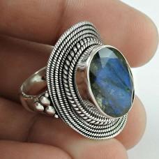 Big Delicate !! 925 Sterling Silver Labradorite Ring