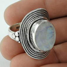 Lovely !! 925 Sterling Silver Rainbow Moonstone Ring