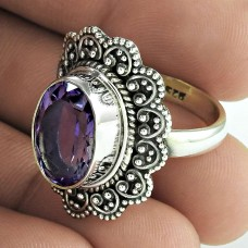 Big Delicate ! 925 Sterling Silver Amethyst Ring