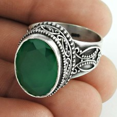 New Design ! 925 Sterling Silver Green Onyx Ring