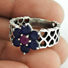 Big Inspire!! 925 Sterling Silver Iolite, Ruby Ring