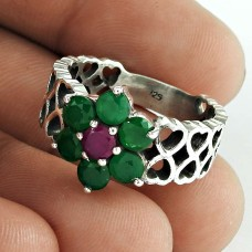Big Natural!! 925 Sterling Silver Green Onyx, Ruby Ring