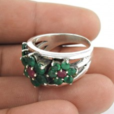 Big Love's Victory!! 925 Sterling Silver Green Onyx, Ruby Ring Fournisseur