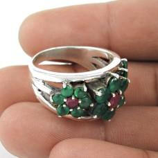 Lilac Kiss!! 925 Sterling Silver Green Onyx, Ruby Ring