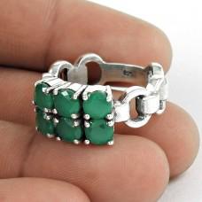 Misty Morning!! 925 Sterling Silver Green Onyx Ring