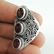 Abstract ! 925 Sterling Silver Garnet Ring