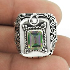 Big Delicate!! 925 Sterling Silver Mystic Topaz Poison Ring