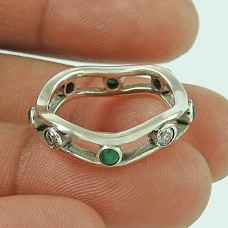 Specious Emerald, White CZ Gemstone Silver Jewellery Ring