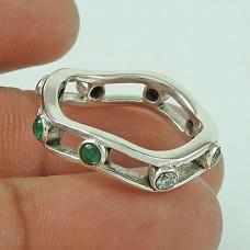 Briliance Emerald, White CZ Gemstone Silver Jewellery Ring Wholesaler India