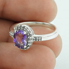 Stylish ! Amethyst, CZ Gemstone Silver Jewellery Ring