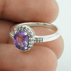 Stylish ! Amethyst, CZ Gemstone Silver Jewellery Ring