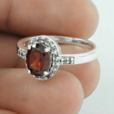 2018 New Design ! Garnet, CZ Gemstone Silver Jewellery Ring