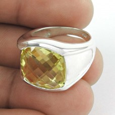 Small Design ! Citrine Gemstone Silver Jewellery Ring