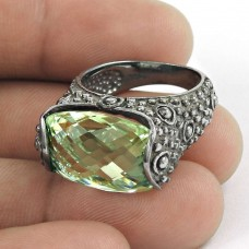 suave ! Green Amethyst Gemstone Oxidized Silver Jewellery Ring Grossiste