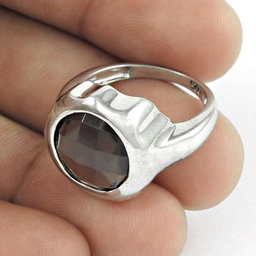 Traditional ! Smoky Quartz Gemstone Silver Jewellery Ring