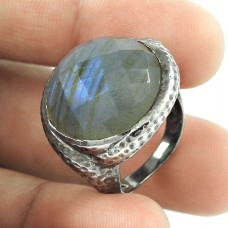 Amazing ! Labradorite Gemstone Oxidized Silver Jewellery Ring