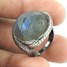Amazing ! Labradorite Gemstone Oxidized Silver Jewellery Ring