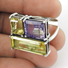 Graceful ! Amethyst, Citrine Gemstone Silver Jewellery Ring