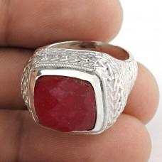 Dainty Daisy ! Ruby Gemstone Silver Jewellery Ring
