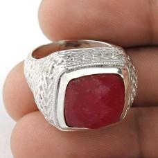 Classy Design ! Ruby Gemstone Silver Jewellery Ring Fabricant