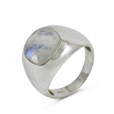 Big Excellent !! Rainbow Moonstone Gemstone Silver Ring Jewellery