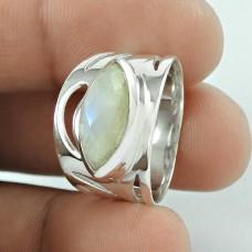 Fantastic !! Rainbow Moonstone Gemstone Silver Ring Jewellery