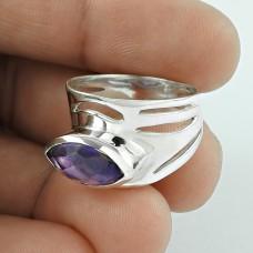 Good Looking !! Amethyst Gemstone Silver Ring Jewellery Großhandel