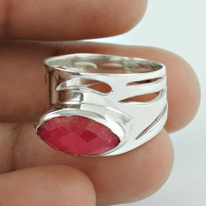 New Fashion !! Ruby Gemstone Silver Ring Jewellery Supplier India