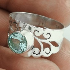 Very Delicate ! Blue Topaz Gemstone 925 Sterling Silver Ring